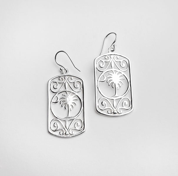 Southern Gates Rectangle Palmetto Tree and Moon Scroll Earrings (88043)