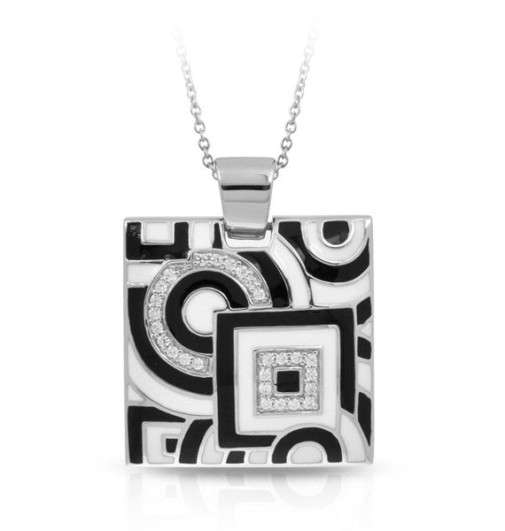 Belle e'toile Sterling Silver Geometrica Black and White Pendant (83098)
