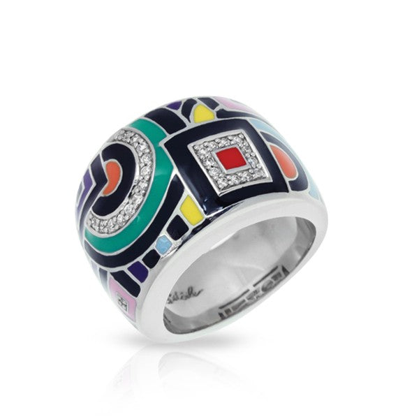 Belle e'toile Sterling Silver Geometrica Multi-Colored Ring, Size 6 (90685)