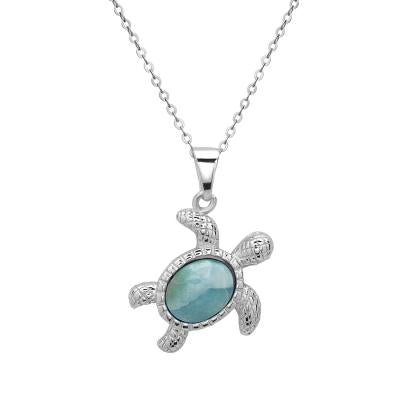 Sterling Silver Larimar Sea Turtle Necklace (90104)