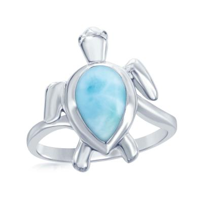 Sterling Silver Larimar Sea Turtle Ring, Size 8 (91923)