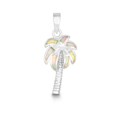 Sterling Silver Created White Opal Inlay Palm Tree Pendant (82219)