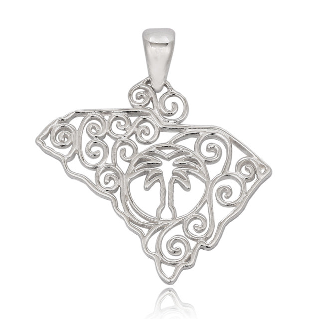 Southern Gates Large Sterling Silver Palmetto State Pendant (81091)