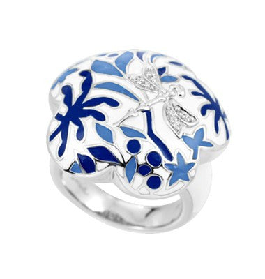 Belle e'toile Sterling Silver Porcelain Blue Ring, Size 7 (81315)