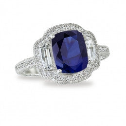 Lafonn Lab-Created Sapphire Diamond 3-Stone Ring in Sterling Sliver