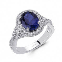 Lafonn Lab-Created Sapphire Ring in Sterling Silver Bonded with Platinum