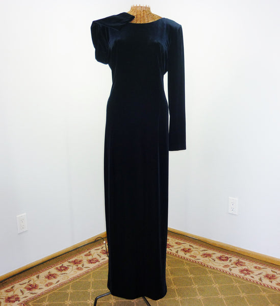 Velvet Long Dress 120 Rhinestone Cross Back Stunning