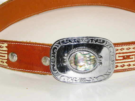 Silver Buckle Leather Belt Mother Of Pearl 40 Inch Accessories - The Wicker Form - 2