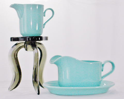 Turquoise Stoneware 50s Japan Plate Jug Creamer Set - The Wicker Form - 2