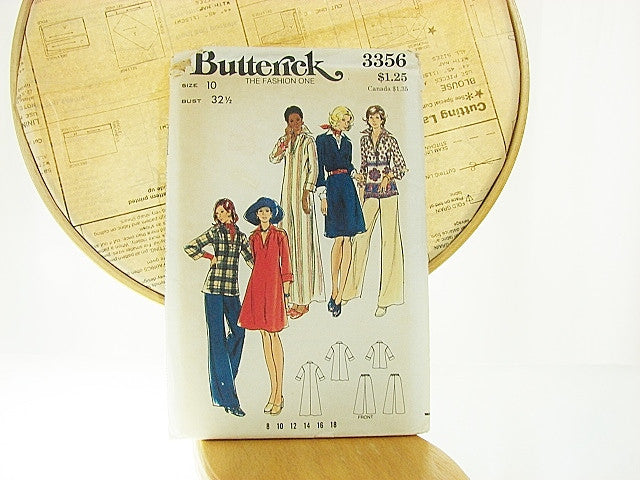 Butterick Patterns 3356 Misses Dress Top Pants Size 10 - The Wicker Form - 1