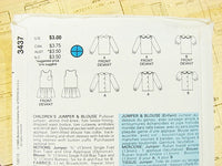 Butterick Patterns 3437 Childrens Jumper and Blouse Sewing Supplies - The Wicker Form