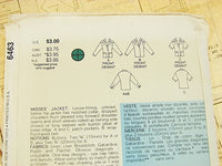 Vintage Fast Easy Butterick Misses Jacket 6463 - The Wicker Form - 3