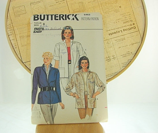 Vintage Fast Easy Butterick Misses Jacket 6463 - The Wicker Form - 1