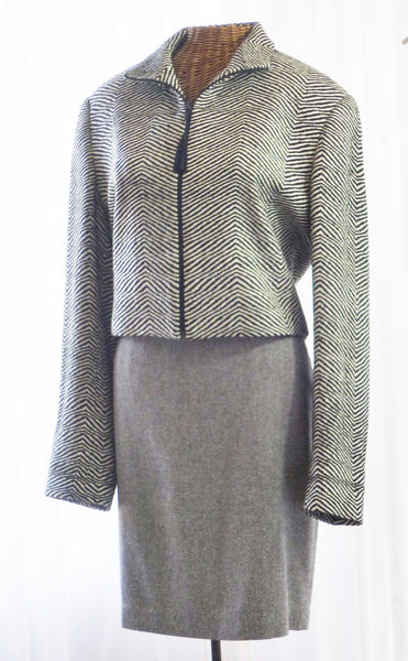 Bolero Jacket by Emil Rutenberg Hand Woven Silk Tweed Unworn Apparel - The Wicker Form - 1