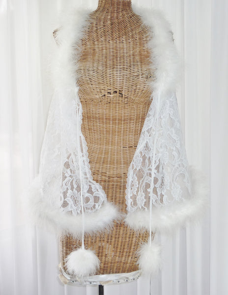 Faris Lace Marabou Feather Robe 1X - The Wicker Form - 4