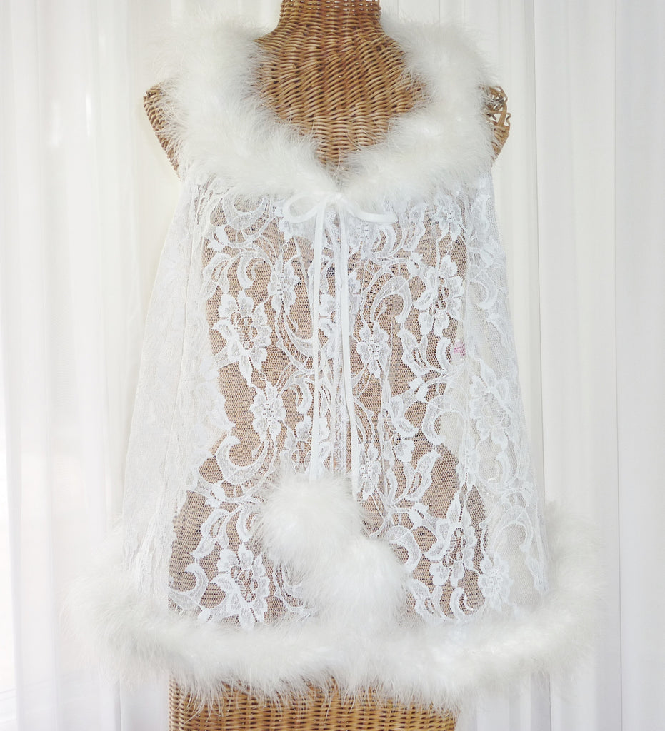 Faris Lace Marabou Feather Robe 1X - The Wicker Form - 1