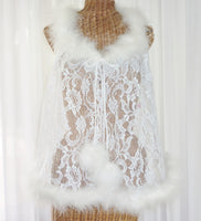 Faris Lace Marabou Feather Robe 1X Robe - The Wicker Form