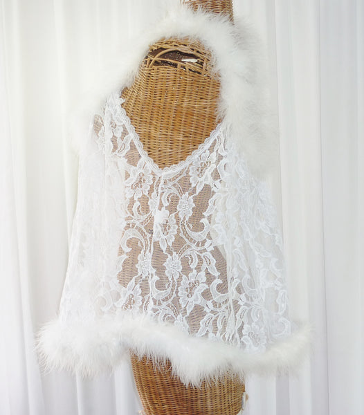 Faris Lace Marabou Feather Robe 1X - The Wicker Form - 3