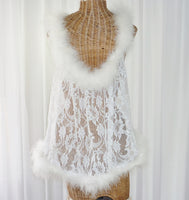 Vintage Marabou Pom Pom Feather Robe by Faris New 1X - The Wicker Form - Back