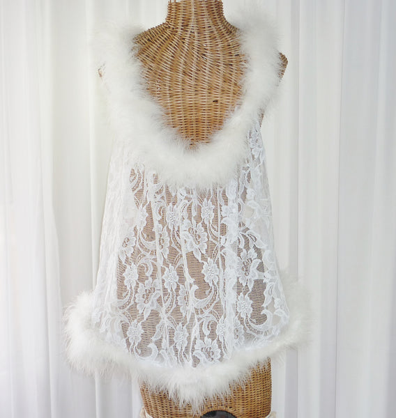 Faris Lace Marabou Feather Robe 1X - The Wicker Form - 2