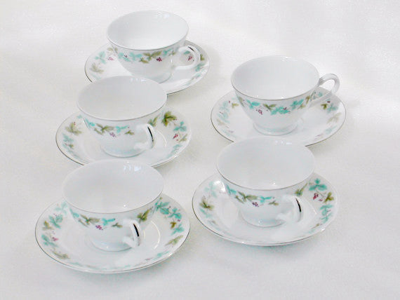 Vintage 6701 Fine China Footed Cups & Saucers Vintage 6701 Pattern - The Wicker Form - 2