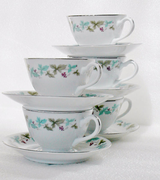 Vintage 6701 Fine China Footed Cups & Saucers Vintage 6701 Pattern - The Wicker Form - 1