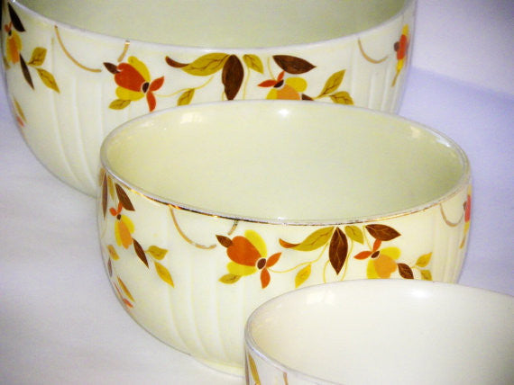 Hall Mixing Bowls Autumn Leaf Pattern Ceramic - The Wicker Form - 3