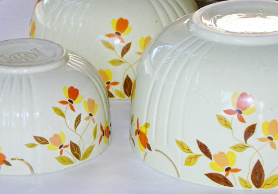 Hall Mixing Bowls Autumn Leaf Pattern Ceramic - The Wicker Form - 5