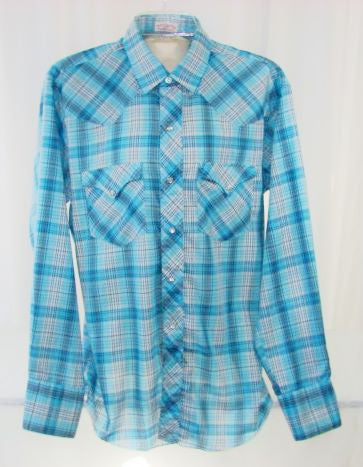 Light Blue Plaid Pearl Snap Shirt 15.5 Men's - The Wicker Form - 1