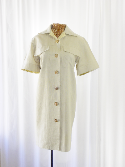 I Magnin Lamé Linen Dress - The Wicker Form - 2