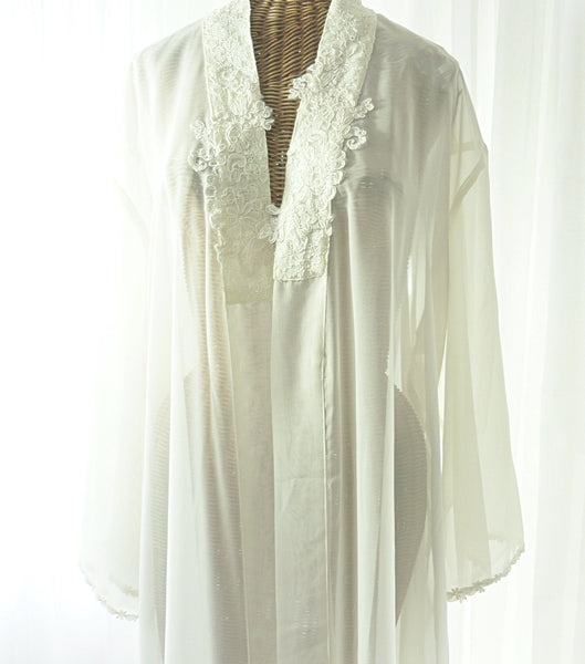 Mystique Intimates Ivory Peignoir Robe New Old Vintage Stock XL - The Wicker Form - 2