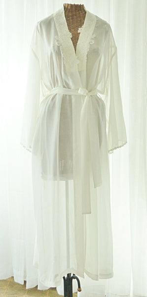 Mystique Intimates Ivory Peignoir Robe New Old Vintage Stock XL - The Wicker Form - 1