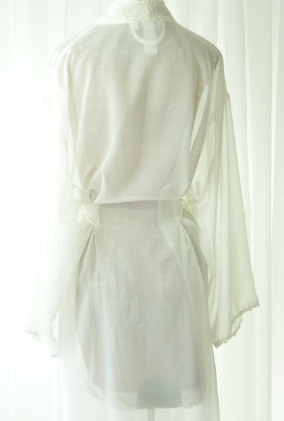 Mystique Intimates Ivory Peignoir Robe New Old Vintage Stock XL - The Wicker Form - 5