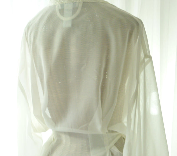 Mystique Intimates Ivory Peignoir Robe New Old Vintage Stock XL - The Wicker Form - 4