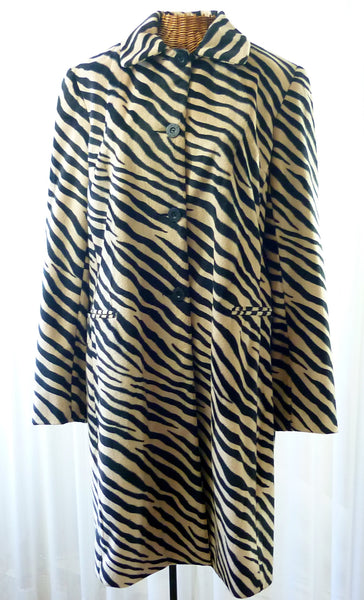 Allen Schwartz A.B.S. Zebra Car Coat Jacket Large - The Wicker Form - 1