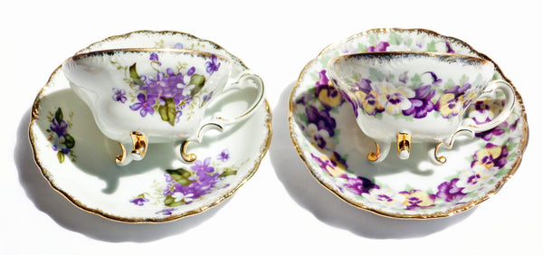 Pansy and Lilac China Teacup Saucer Set for Two - The Wicker Form - 2