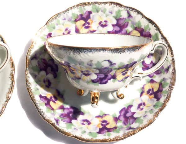 Pansy and Lilac China Teacup Saucer Set for Two - The Wicker Form - 1