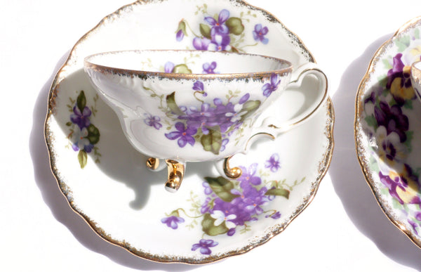Pansy and Lilac China Teacup Saucer Set for Two - The Wicker Form - 4