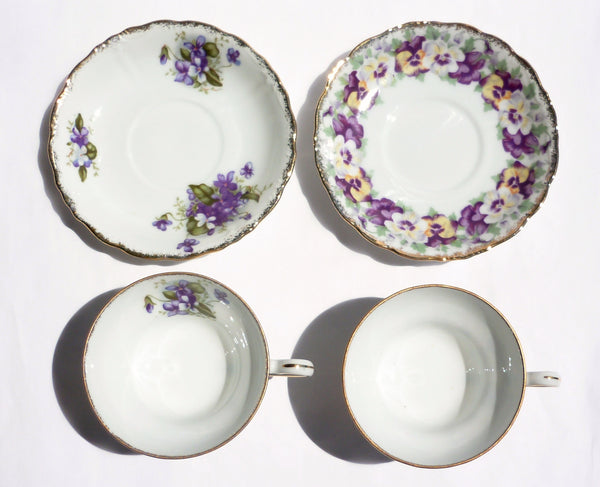 Pansy and Lilac China Teacup Saucer Set for Two - The Wicker Form - 5