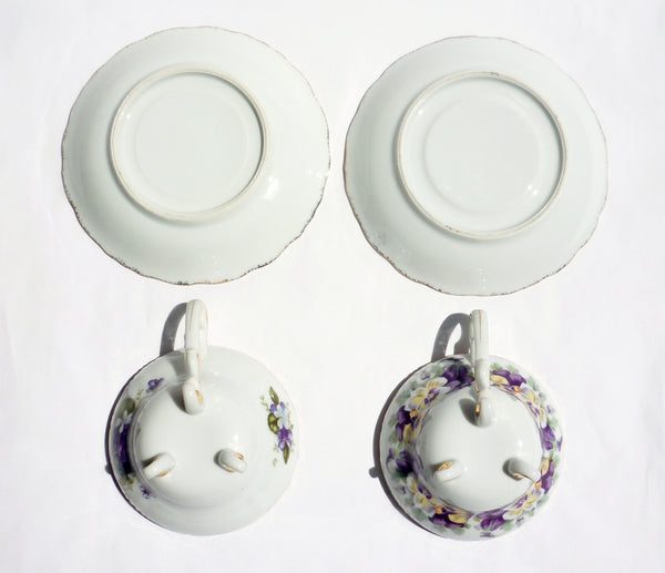 Pansy and Lilac China Teacup Saucer Set for Two - The Wicker Form - 6