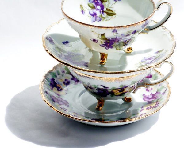 Pansy and Lilac China Teacup Saucer Set for Two - The Wicker Form - 3