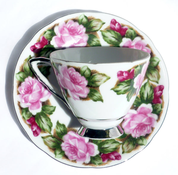 Vintage Translucent China Cup and Saucer Avon Shape China & Porcelain - The Wicker Form - 1
