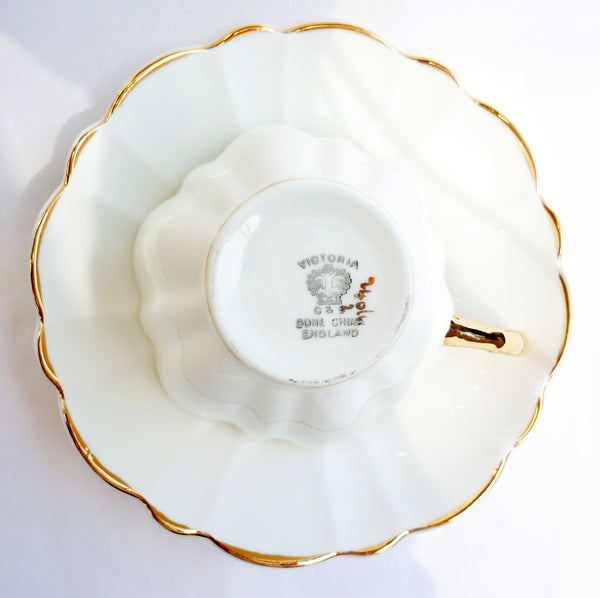 Victoria CE Bone China Set White Cup Saucer Heavy Gold China & Porcelain - The Wicker Form - 5