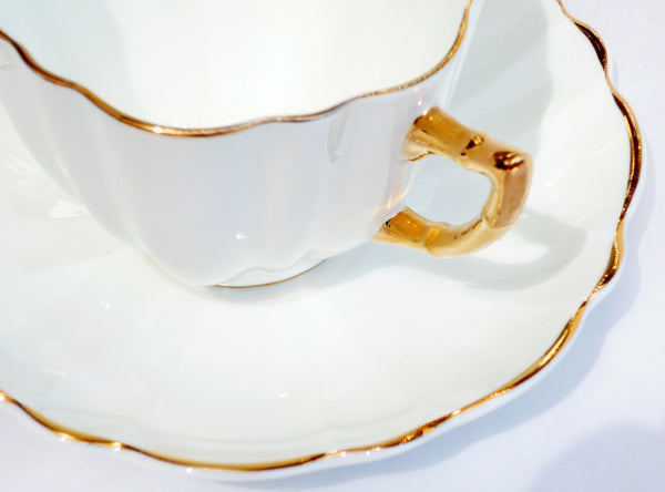 Victoria CE Bone China Set White Cup Saucer Heavy Gold China & Porcelain - The Wicker Form - 2
