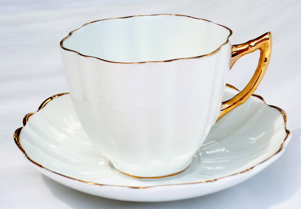 Victoria CE Bone China Set White Cup Saucer Heavy Gold China & Porcelain - The Wicker Form - 1