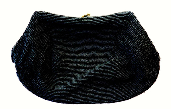 Black Satin Beaded Clutch 1950s Accessories - The Wicker Form