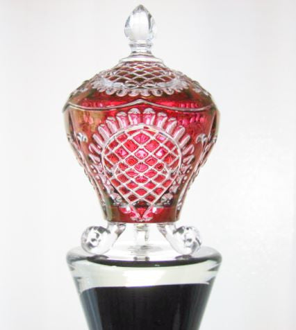 Ruby Red Cut to Clear Candy Dish Fleur de leis Three Toe Collectables - The Wicker Form - 1