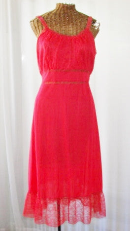 Seamprufe Dress Slip Red 1940s Gathered Lace Hemline Size 36 - The Wicker Form - 1