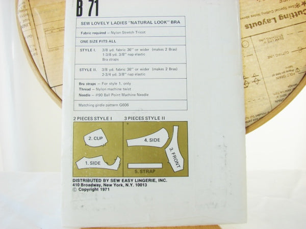 Sew Lovely B 71 Natural Look Ladies Bra 2 Styles Sewing Supplies - The Wicker Form - 2