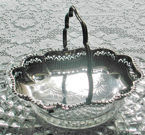 Antique John Round & Sons Silver Bridal Basket - The Wicker Form - 1